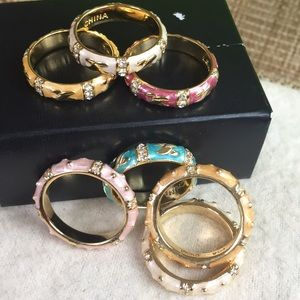 Set of 7 Gold Plated/Enamel Stack Rings